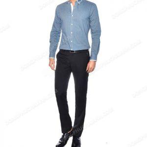 Mẫu đồng phục áo sơ mi nam công sở màu xanh