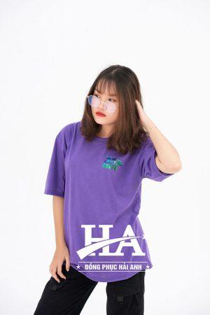 Mẫu áo lớp Hologram màu Tím Violet A3K78